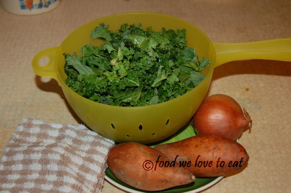 Kale and sweet potato pasta (1/2)