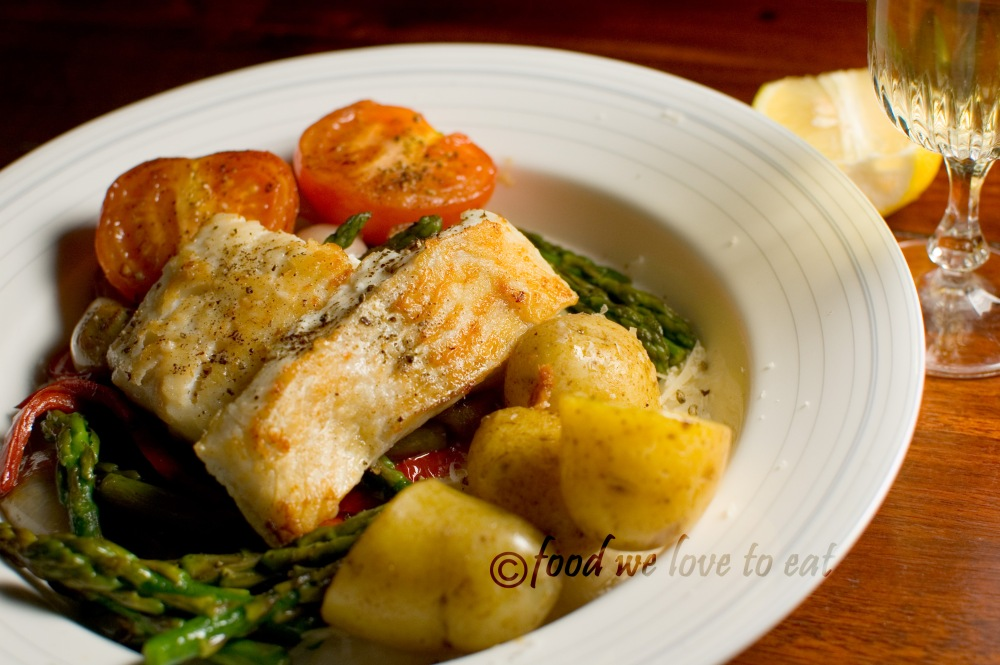 Haddock in a bed of sautéed vegetable medley